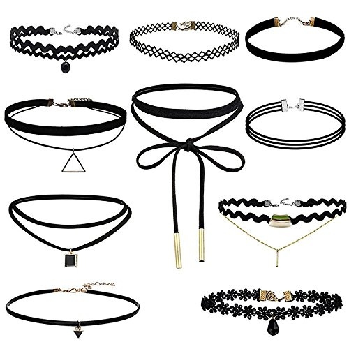 (Eschone 10pcs Black Color Choker Necklace for Girls Lace Choker Gothic Little Princess Fashion Jewelry (Black 10pcs Choker Necklace))
