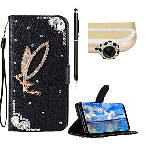 SKYXD Leather Case for Galaxy S8,For Galaxy S8 Bling Cover,Beautiful Glitter 3D Angel [Black] Wallet Flip Folio Holster Card Slots Bookstyle Shockproof Protective Case Cover for Samsung Galaxy - Angel Cover