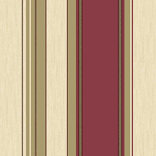 Vymura Synergy Striped Wallpaper Rich Red / Cream / Gold (M0803) (Wallpaper Striped Red)