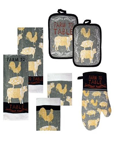 Country Theme Farm to Table Kitchen Towels, Dish Cloths, Pot Holders and Mitt ~ Large Set