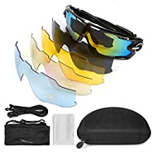 LeaningTech Sports Polarized Sunglasses UV400 Unbreakable Sports Glasses with 5 Changeable Lens for Men or Women Cycling Skiing Baseball Riding Driving Running Golf Fishing Sport Outdoor Activities
