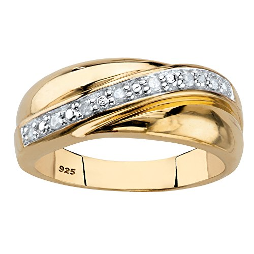 Men's 18K Yellow Gold over Sterling Silver Round Genuine Diamond Wedding Band Ring (1/10 cttw, I Color, I3 Clarity) Size 10 (Band Wedding Round Diamond)