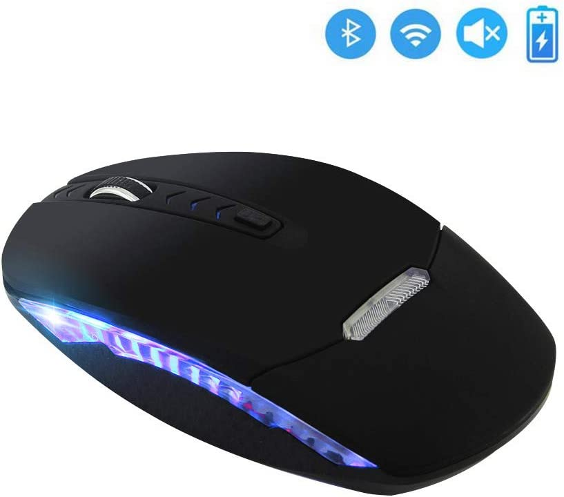 Bluetooth Wireless Mouse,Dual Mode Bluetooth 4.0 Mouse 2.4G Wireless Optical Mouse with USB Receiver,Rechargeable Silent 4 Adjustable DPI Levels for PC, Laptop, Windows, Android, OS System(Black)