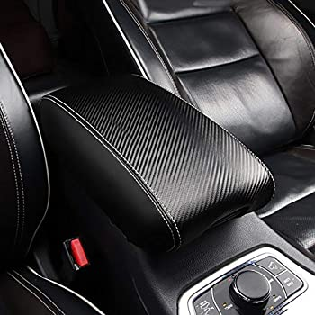 Without Logo R RUIYA Center Console Rest Pad Cover Customized for 2016-2019 Jeep Grand Cherokee Armrest Box Soft Pad Protector with Carbon Fiber