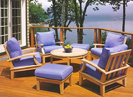Somer Grade A Teak Wood Luxurious 5pc Sofa Set Collection   4 Lounge Chairs  And
