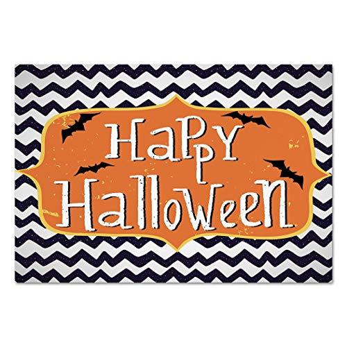 Large Wall Mural Sticker [ Halloween,Cute Halloween Greeting Card Inspired Design Celebration Doodle Chevron Decorative,Indigo White Orange ] Self-adhesive Vinyl Wallpaper / Removable Modern Decoratin for $<!--$41.99-->
