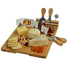 Picnic at Ascot CB60 Windsor Hardwood Cheese Board with 4 Tools, Ceramic Bowl & Cheese Markers, Natural