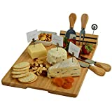 Picnic at Ascot Large Hardwood Board for Cheese & Appetizers - Includes 4 Cheese Knives, Cheese Markers & Ceramic Dish for Olives etc. -14'' x 11'' - USA Designed & Quality Assured