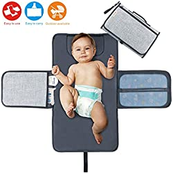 Diaper Changing Pad Baby Portable Changing Station Diaper Change Mat with Head Cushion Lightweight Travel Home Diaper Changer Mat with Pockets - Waterproof and Foldable by Idefair (TM)