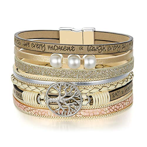 (BAMOER Life of Tree Leather Bracelet Pearl Multilayer Cuff Magnetic Buckle Bangle Bracelet for Women Girls Wife Gift)