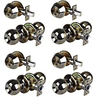 Set of 4 Combo Entry Lock Set Door Knob & Deadbolt Keyed Alike Keyway: SC1 (Antique Brass)