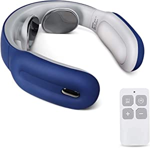Smart Neck Massager with Heating Function, Wireless Travel Neck Massager,Muscle, Shoulder, Cervical Pain Relief (Blue)