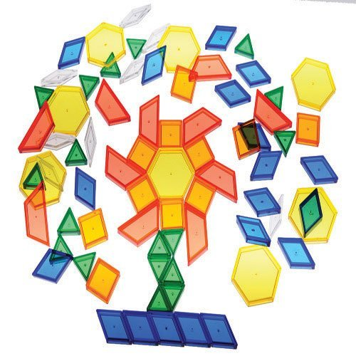 Constructive Playthings Toys Translucent Pattern Blocks, Set of 147 Pieces,