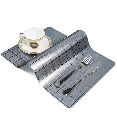 OneBelief Table Placemats, Non-Slip, Waterproof, Wipe Clean, Heat Insulation Dinner Sets (Set of 4)(Light ()