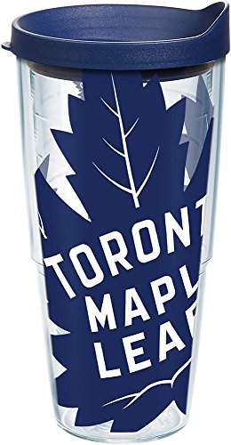 Tervis 1235115 NHL Toronto Maple Leafs Colossal Tumbler with Wrap and Navy Lid 24oz, Clear