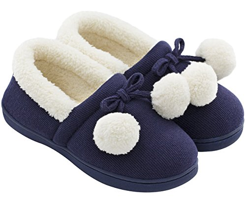 HomeTop Women's Cute Fuzzy Knitted Cotton Memory Foam Indoor Outdoor House Shoes (US Women's 9-10, Navy Blue)