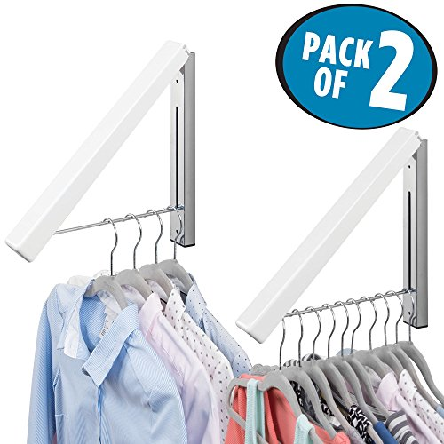 mDesign Compact Slim Design Home Storage Collapsible Wall Mount Clothes Hanger and Drying Rack for Laundry Room - hang clothing, coats, robes, dry cleaning, more - Pack of 2, White