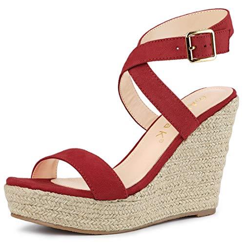 (Allegra K Women's Slingback Crisscross Espadrille Wedges Red Heel Sandals - 8.5 M US)