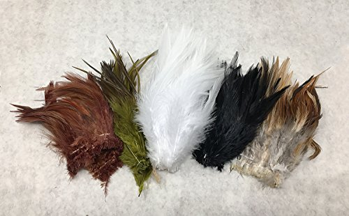 Saddle Hackle Feathers for Fly Tying/Tying Flies Variety Pack(Common (Saltwater Fly Tying Materials)