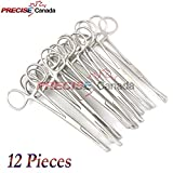 PRECISE CANADA: SET OF 12 PENNINGTON FORCEPS SLOTTED 6'' STAINLESS STEEL PROFESSIONAL BODY PIERCING TOOL