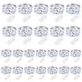 24-Pack Fairy String Lights Battery Operated - 2018 Upgrade - 7.2ft Silvery Copper Wire Lights 20 LEDs Cool White, Outdoor Indoor LED String Lights for Party Wedding Bedroom Christmas House Decor DIY