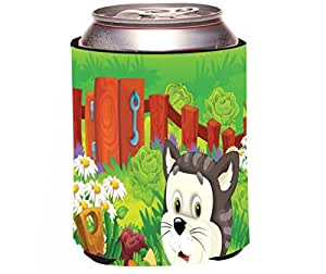 "Rikki Knight RKws-KOOZIE-44598 ""Cute Grey Cat Cartoon with Farm Vegetables Design"" Beer Can/Soda Drink Cooler Koozie"