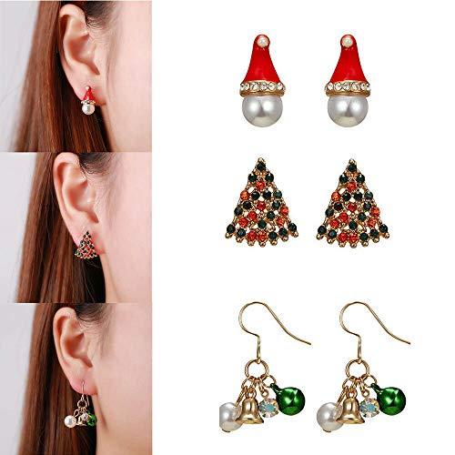 3 Pairs Christmas Earrings Crystal Pearl Bell Hat Xmas Tree Stud Dangle Earrings