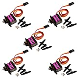 Emakefun MG90S Mini Metal Geared Micro Servo Motor 9G for RC Helicopter Plane Boat Car Trex450 (5Pcs) ...