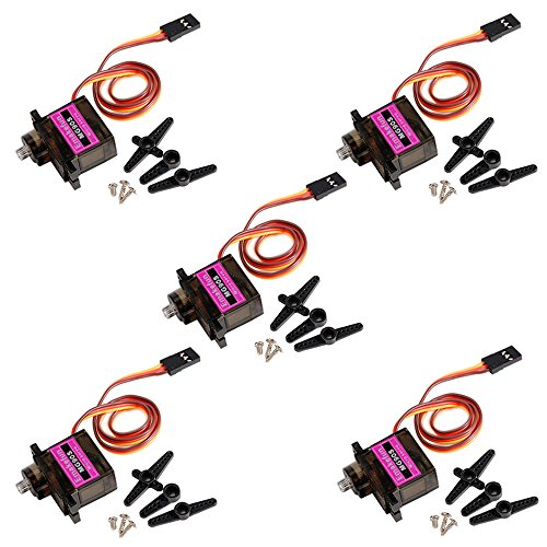 - Emakefun MG90S Mini Metal Geared Micro Servo Motor 9G for RC Helicopter Plane Boat Car Trex450 (5Pcs) ...