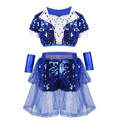 inlzdz Kids Girls Boys Sparkle Sequins Jazz Hip Hop Latin Performing Costume Street Dance Dancewear Outfit Blue Skirt Set 10-12 ()