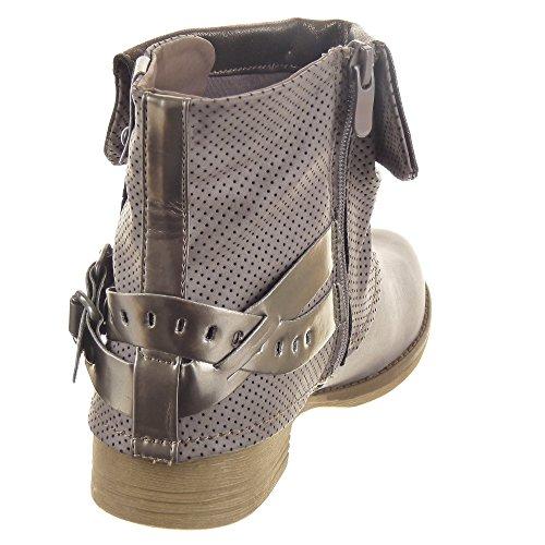 Sopily - damen Mode Schuhe Stiefeletten Biker Reitstiefel - Kavalier Sexy String Tanga Schleife - Grau