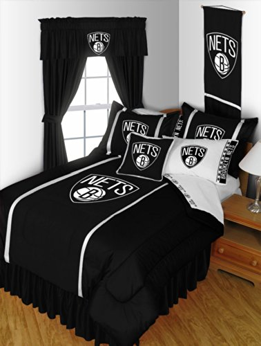 Brooklyn Nets KING Size 14 Pc Bedding Set (Comforter, Sheet Set, 2 Pillow Cases, 2 Shams, Bedskirt, Valance/Drape Set (84-inch drape length) & Matching Wall Hanging) - SAVE BIG ON BUNDLING!