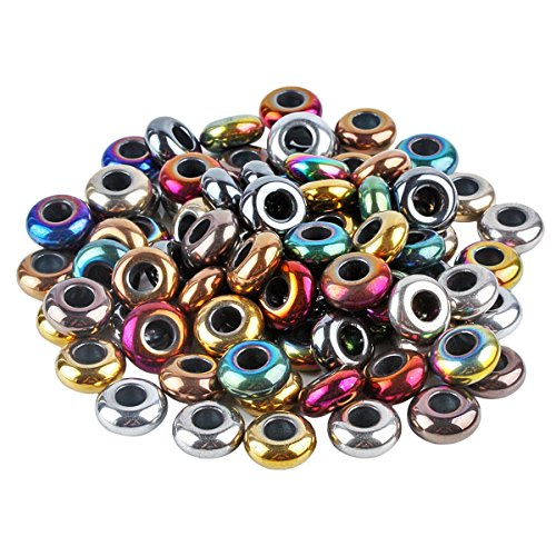 SUNYIK Assorted Colors Hematite Gemstone Loose Beads Fit Charms Bracelet (Polished Hematite) Pack of 50