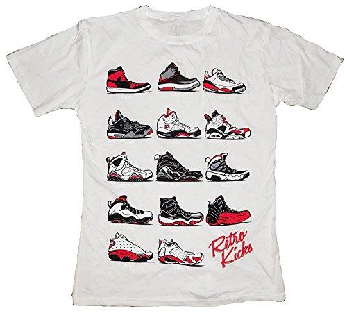 The Evolution of Flight Air Jordans Retro Kicks Men's T-Shirt (3X, White)