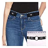 Ladies Elastic Belt Invisible No Buckle Belt for Women Men Black Adjustable Stretch Waist Belt Jeans Belt, No.2 Black, Suit Waist 30inch-48inch
