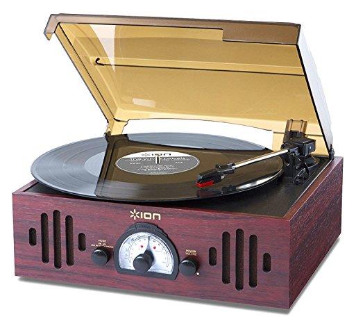 Ion-Audio-Trio-LP-Impianto-Stereo-Giradischi-Vintage-con-Trasmissione-a-Cinghia-Altoparlanti-Integrati-Radio-Finitura-in-Legno