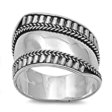 Sterling Silver Women's Bali Ring Wide 925 Band Rope Groove Design Size 7 (RNG15074-7)