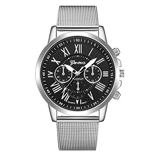 Mens Quartz Watch On Sale Clearance,Jamiacy Luxury Analog Business Casual Fashion Wristwatch Round Sport Military Dial Stainless Steel Case Leather Band Watches W002