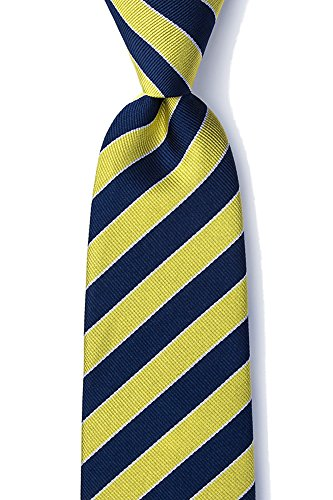 Men's 100% Silk Fane American Repp Striped Stripe Tie Necktie (Navy Blue & Gold)