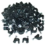 CableWholesales RG6 Cable Clip, Black (100 pieces per bag)