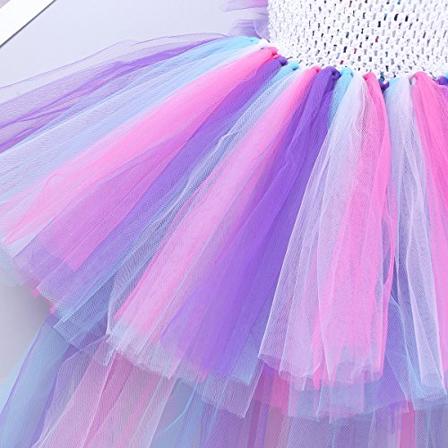 YiZYiF Girls Inspired Mythical Outfit Birthday Tutu Party Dress with Horn Hair Hoop Ballet Costumes Colorful with Train 5-6 by YiZYiF (Image #5)