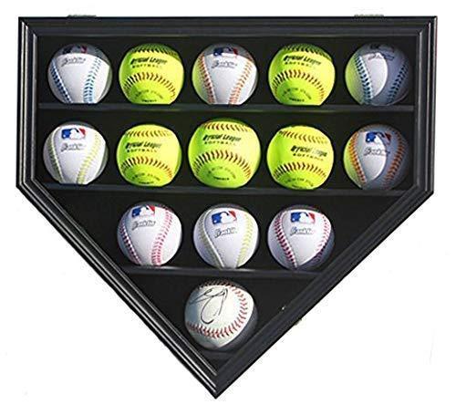 14 Softball/Baseball, Cube Display Case Cabinet Wall Rack Home Plate Shaped w/UV Protection B09 (Black Finish)