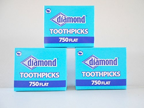 Wooden Flat Toothpicks 3-pack (2250 Total) Tray (Flat Wood Toothpicks)