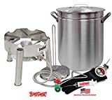 """Deep Fryer Kit 42 Quart Aluminum """"GRAND GOBBLER"""" for 25+ LBS Turkeys With Low Profile Stainless Steel Burner by Bayou Classic"""
