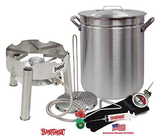 Deep Fryer Kit 42 Quart Aluminum ''GRAND GOBBLER'' for 25+ LBS Turkeys With Low Profile Stainless Steel Burner by Bayou Classic by Bayou Classic
