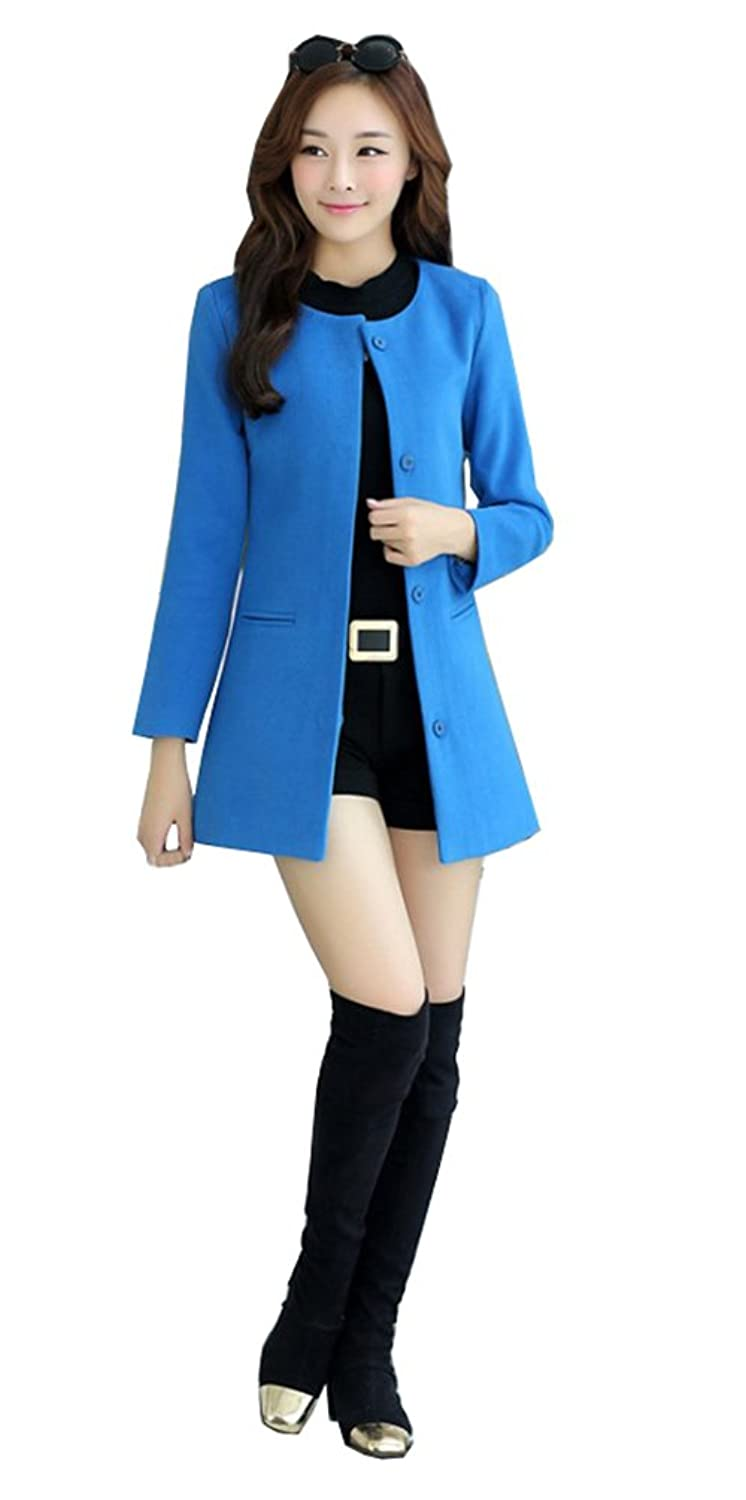 Alionz Women Autumn Wool Blend Collarless Solid Fitted Elegant Outwear Coat