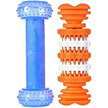 SlowTon Pet Dog Chew Toy, Arctic Cooling Freeze Fetch Food Teething Chew Puzzle Training Dumbbell and Teeth Cleaning TreatTooth Gums MassageGrinding Rubber Chew Toy Bone (Orange+Blue)