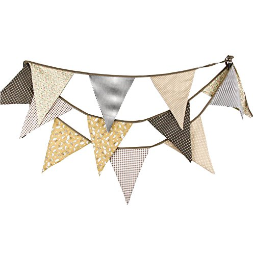 Light Tan Brown Vintage Floral Bunting Fabric Banner Shabby Chic Triangle Pennant Garland Wedding Birthday Party Decoration