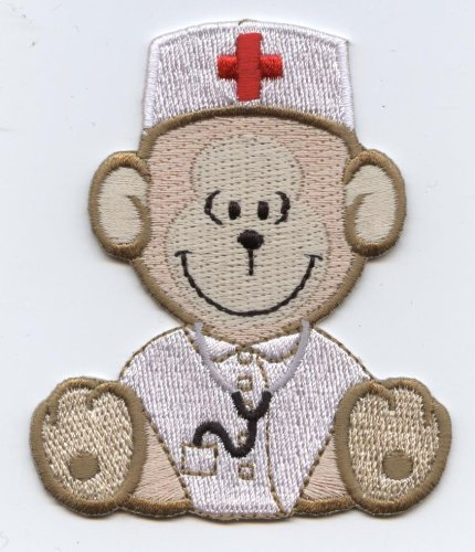 Medical Nurse Bear Sitting Iron on Embroidered Applique Patch