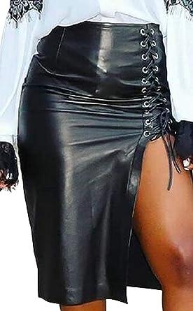 dahuo Falda de Cuero Sexy de Cintura Alta Bodycon Midi Pencil ...